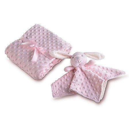 manta fleece dupla face com naninha rosa lepper