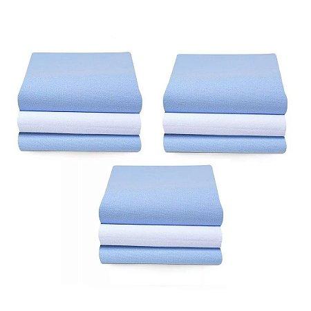Cueiro Karinho Liso 80 X 50 Cm 9 Unidades 100% Algodão Papi - Azul