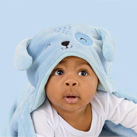 Mami Bichuus Cobertor Manta De Microfibra Com Capuz Bebê - Azul