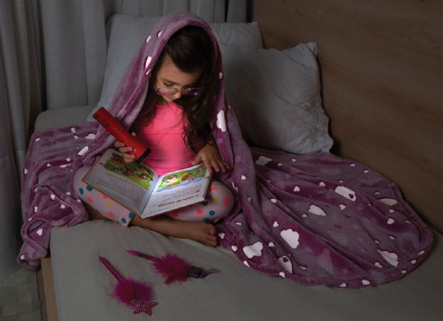 Manta Fleece Glow Kids Lepper Brilha No Escuro Rosa