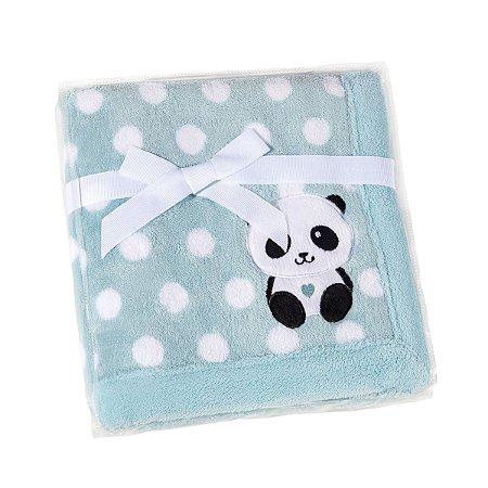 manta fleece estampada com bordado 76 cm x 102 cm lepper panda