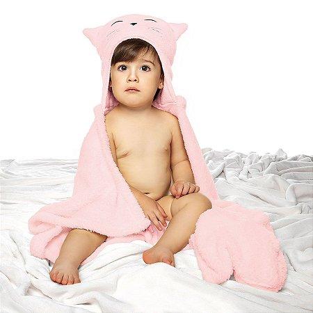 Manta Fleece Bebê Com Capuz Bordado 76 Cm X 102 Cm Lepper - Gatinha