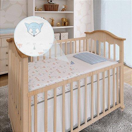 Lençol De Berço 3 Peças Tamanho Americano Enxoval Bebê Papi Raposa