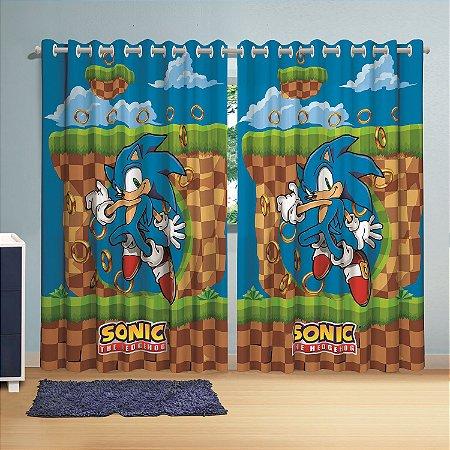 Cortina com ilhós Sonic 3,00 x 2,10 lepper infantil personagem