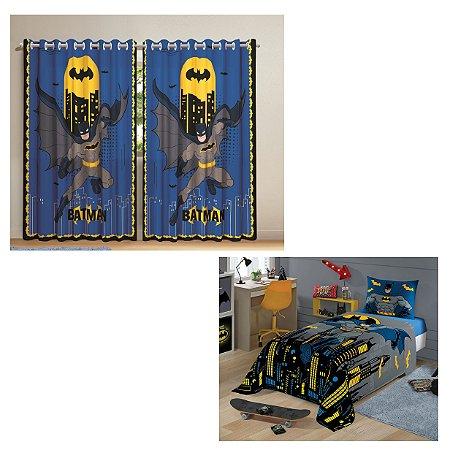 Cortina com ilhós Batman 3,00 x 2,10 e jogo de cama 2 peças Lepper