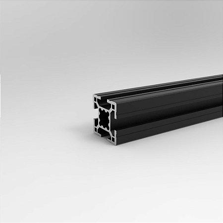 Perfil Estrutural em Alumínio 30x30 Básico Preto - Canal 8