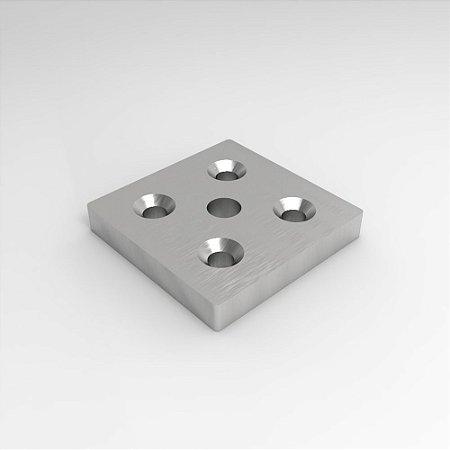 Placa para Fixação de Pé Nivelador ou Rodízio - 80x80