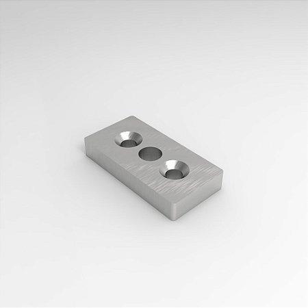 Placa Retangular p/ Montagem de Pé Nivelador ou Rodízio
