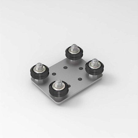 Guia Ajustável com Roldanas Para Perfil 20x20 e 20x40 V-Slot - 4 apoios