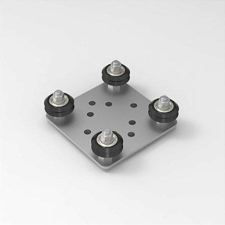 Guia Ajustável com Roldanas Para Perfil 20x40 V-Slot - 4 apoios