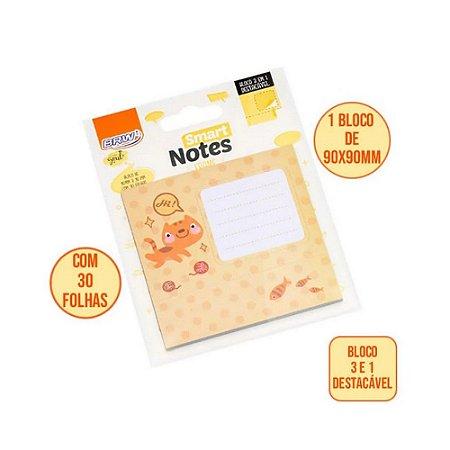 Bloco Smart Notes Frame 3 Em 1 90X90Mm Gato 30F Brw