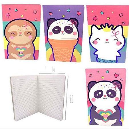 Caderno Grampeado Pautado A5 Animais Cute Sortido 32 Folhas