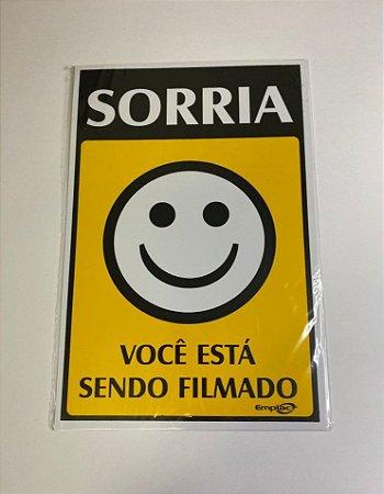 Placa de Sinalização Poliestireno 30x20cm - Sorria Você Está Sendo Filmado (Amarela) - Emplac