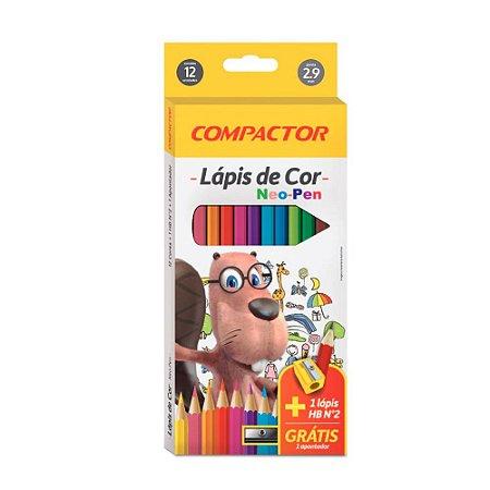 Kit Lápis de Cor Neo-pen 12 Cores + 1 Lápis HB + Apontador Compactor