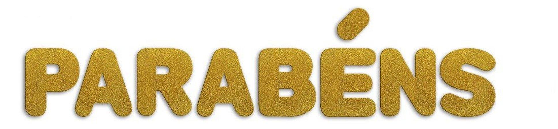 Letreiro E.V.A. C/ Glitter 12cm - Parabéns (Ouro) - Make+