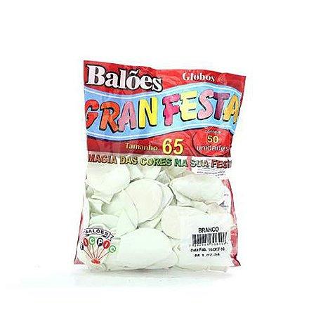 Balão Liso 6.5 Branco C/50 Gran Festa