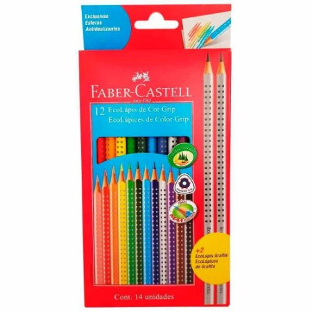 Lapis Cor Grip 12 Cores + 2 Graf Faber Castell