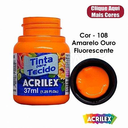 TINTA TECIDO FLUOR 37ML AMARELO OURO (108) ACRILEX