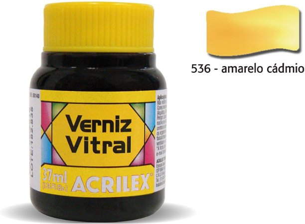 VERNIZ VITRAL 37ML AMARELO CADMIO (536) ACRILEX