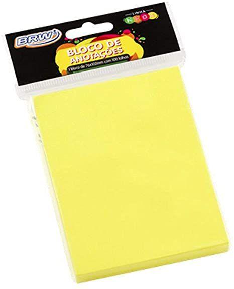 Bloco Smart Notes Amarelo Neon 100F 76X102Mm Brw