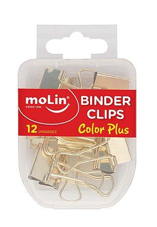 Binder Clipes Ouro Color Plus 19Mm Cx C/12 Unidades Molin