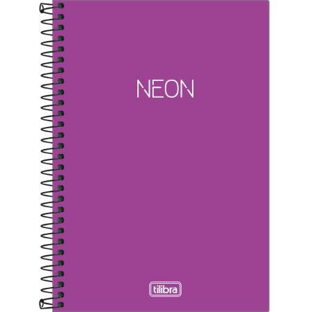 Caderno Espiral Capa Plástica 1/4 80F Neon Roxo Tilibra