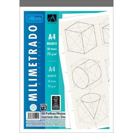 Caderno Colado Milimetrado A4 75G Academie Branco 50F Tilibra