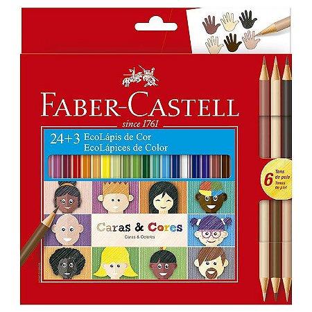 Lapis De Cor 24 Cores + 3 Lapis Caras & Cores Faber Castell