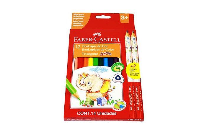 Lapis De Cor Jumbo Triangular 12 Cores + 2 Lapis Grafite Jumbo Faber Castell