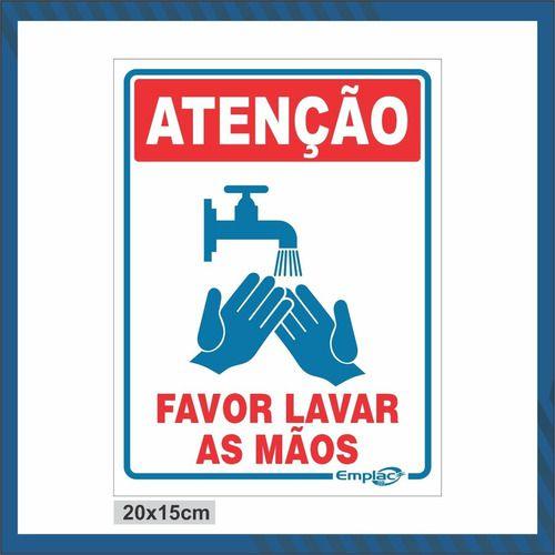 Placa De Sinalização 20X15Cm Atencao Lavar Maos Emplac