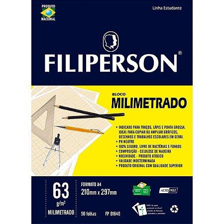 Bloco Milimetrado Branco A4 50F 63G Filiperson