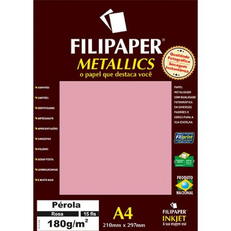 Papel Metalico Filipaper Pérola 180G A4 Unidade Filiperson