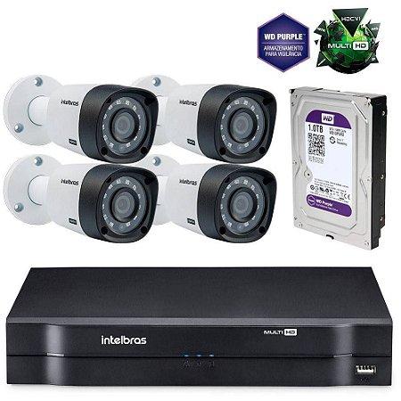 KIt 4 Cameras INTELBRAS 720P DVR Multi Mhdx e HD WD Purple 1 TB