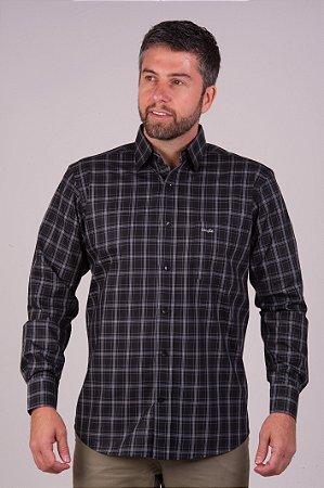 Camisa Preta Xadrez - Manga Longa Tradicional | Fio 60