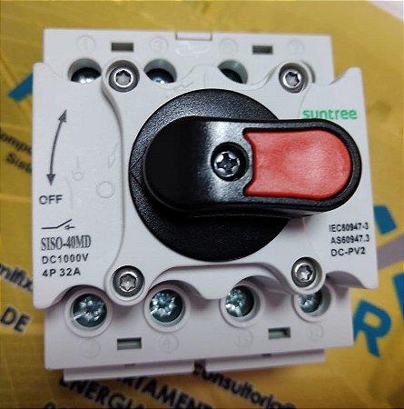 Chave Seccionadora Rotativa 4 pólos - 1000Vcc/32A para trilho DIN SUNTREE