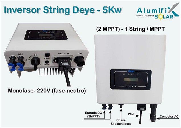 Inversor String Deye SUN5kW/220Vca/monofásico com 2 mppt's - com wi-fi e monitoramento Web