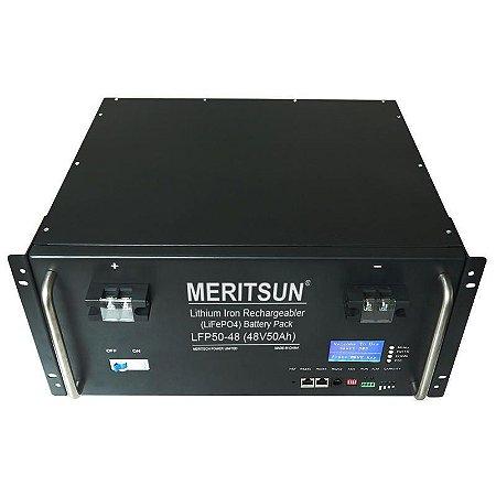 Bateria Solar Lítio - Meritsun - C6LFP50-48 48Vcc 50Ah - 2,4kWh - LiFePO4 - 6000 ciclos