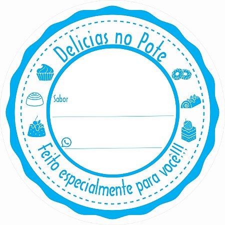 -Etiqueta Delicias no pote Azul c/500 5x5cm