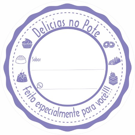 -Etiqueta Delicias no pote Roxo c/500 5x5 cm