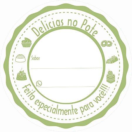 -Etiqueta Delicias no pote Verde c/500 5x5 cm