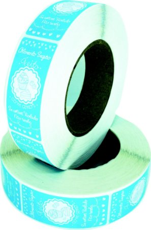 -Lacre para Delivery 7x3 Confeitaria Rolo c/1000 Azul