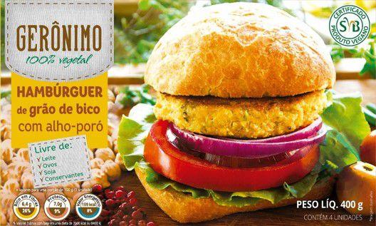 Hambúrguer de grão de bico Gerônimo 400g (Congelado) Embalagem com 4 unidades