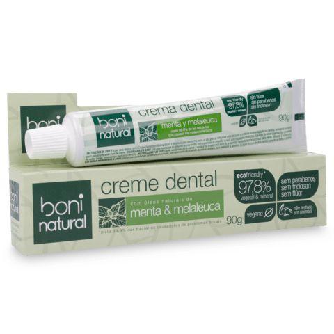 Creme Dental Boni Natural vegano de menta e melaleuca sem flúor 90g