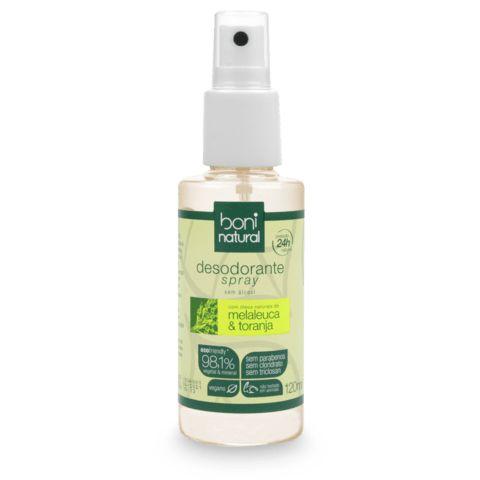 Desodorante Boni Natural vegano, sem cloridrato de alumínio, melaleuca e toranja 120ml