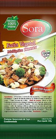 Proteína texturizada condimentada sabor carne vermelha. 125g (fatias pequenas)