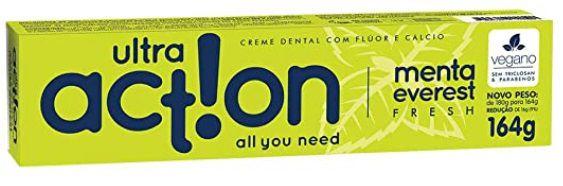 Creme Dental com flúor e cálcio Ultra action Menta everest fresh 164g