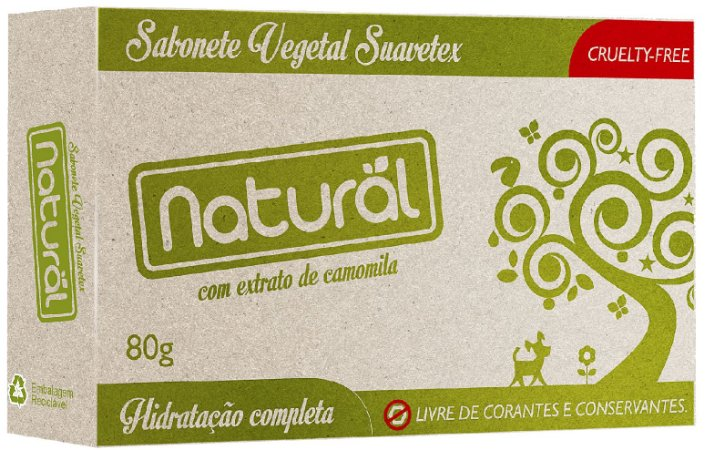 Sabonete Vegetal com extrato de camomila Suavetex 80g