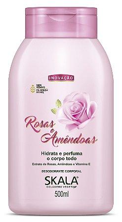 Desodorante Corporal e hidratante Rosas e Amêndoas Skala 500g Vegano