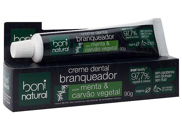 Creme Dental Boni Natural vegano de menta e carvão vegetal sem flúor 90g