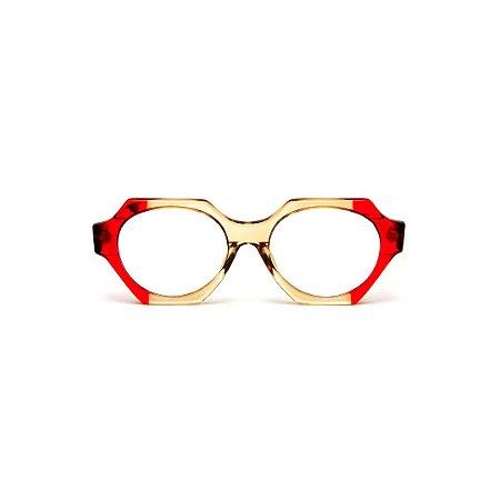 Armação para óculos de Grau Gustavo Eyewear G72 1 Cor: Vermelho translúcido e âmbar. Haste animal print.